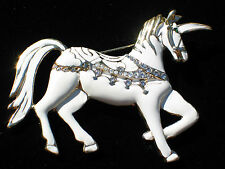 "WHITE ENAMEL CIRCUS MARRY GO ROUND SHOW PRANCING HORSE UNICORN PIN BROOCH 3"" LRG"