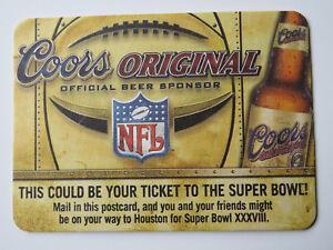 2003 Bière dessous de Verre ~ ~ Coors Original NFL Sponsor-Win Houston Super Bol 1FbnwXiD-09172036-609068242