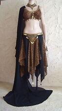3 Piece Tribal Belly Dance Costume BLACK LEOPARD Bra Skirt Veil Gold Coins S M