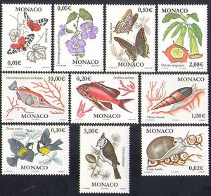 Monaco 2002 Butterflies/Flowers/Fish/Shells/Nature/Insects/Birds 10v set n38392