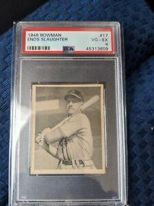 1948-Bowman-Enos-Slaughter-HOF-RC-PSA-4-Dead-centered-Cardinals-HOF