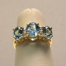 Swiss Blue Topaz and Diamond Cocktail Ring Set in 14K Yellow Gold Genuine Oval