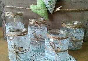 20 Windlichter Vasen Hochzeit Vintage Shabby Spitze Deko