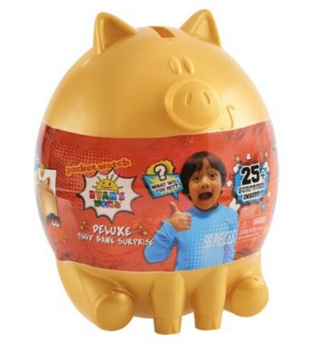 New Ryan's World Deluxe Piggy Bank Playset Gold-With 25 Surprises 2019