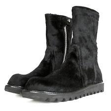 RICK OWENS $2,120 cow hide pony hair black fur creeper sole boots 44-I/11-US NEW