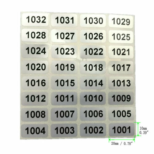 """Roll 0.78/""""*0.39/"""" Inventory stickers 1000 Labels Consecutive Number"""