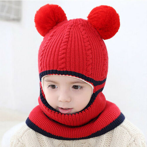Winter Warm Crochet Knit Beanie Cap Pom Hat Scarf For Toddler Kids Baby Girl Boy