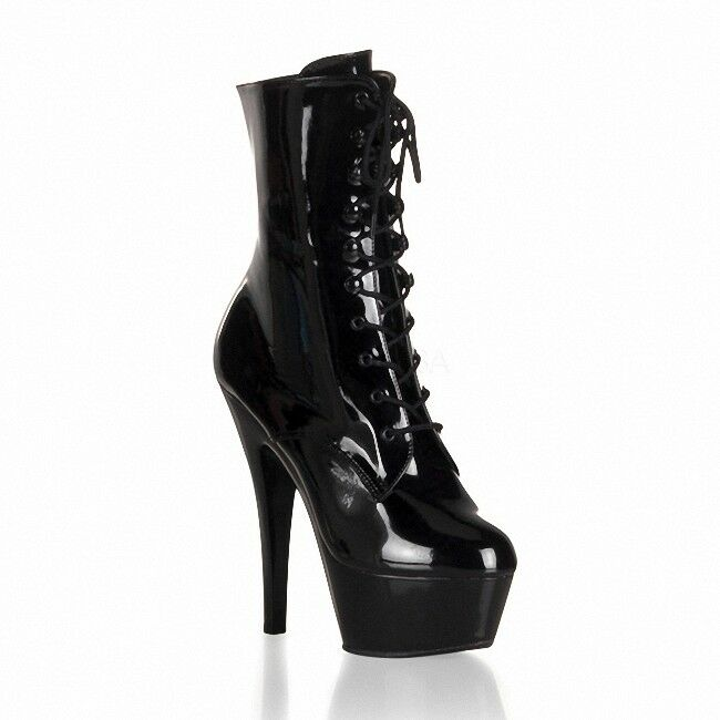 femmes Lace Up 15cm Super High Heels Platform démarrageies Sexy Club chaussures Side Zip