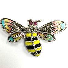 ART DECO BUMBLE BEE PLIQUE A JOUR ENAMEL MARCASITE RUBY BROOCH 925 SILVER