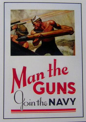 "Man the Guns  Join the NAVY  Vintage World War II Reprint POSTER 12/"" x 18/"""