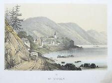 Sandmann: Original Lithografie Ansicht St. Nikola Donau Oberösterreich; 1860