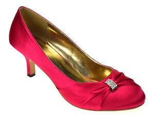 NEW WOMENS HOT PINK WEDDING BRIDAL LADIES PROM LOW HEEL BRIDESMAID ...