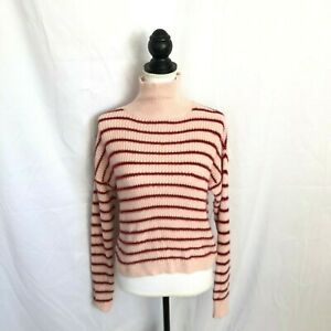 LC-Lauren-Conrad-Womens-Extra-Small-Pink-Red-Striped-Long-Sleeve-Sweater