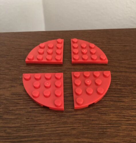 LEGO Lot of 4 Red 4x4 Round Corner Flat 30565