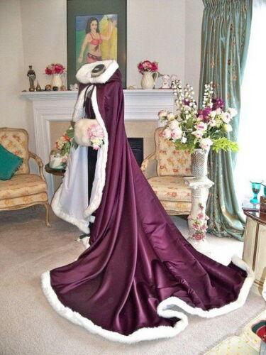 HOT Bridal Winter Wedding Cloak Cape Hooded with Fur Trim Long Flower Girl Cloak