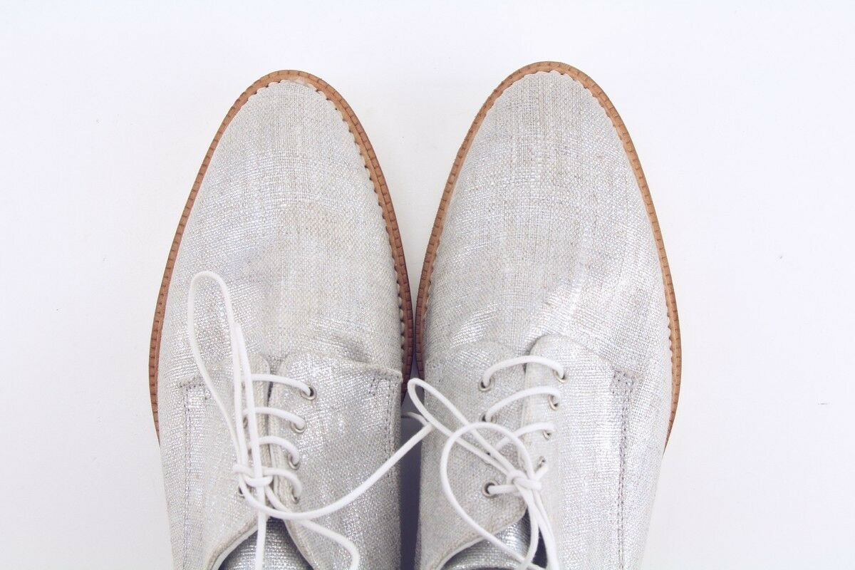 NEW Miista 40 Zoe Aridescent Linen Oxfords Größe 9.5 / 40 Miista Loafers Flats 9700a9
