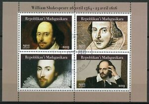 Madagascar-2019-CTO-William-Shakespeare-4v-M-S-Writers-Famous-People-Stamps