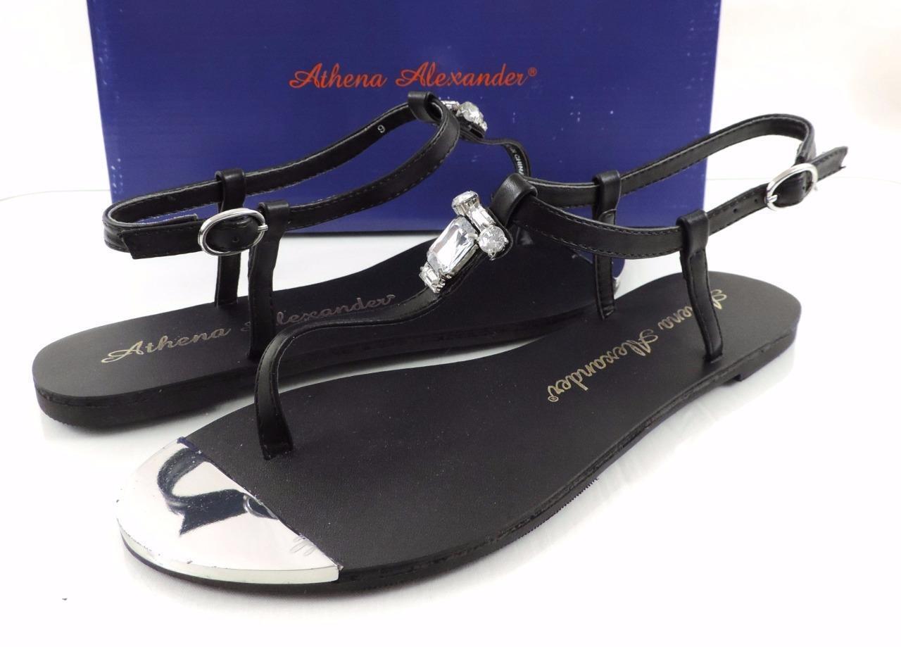 donna scarpe Athena Alexander Midtown Midtown Midtown Ankle Strap Thong Sandals nero Dimensione 9 ecbb66
