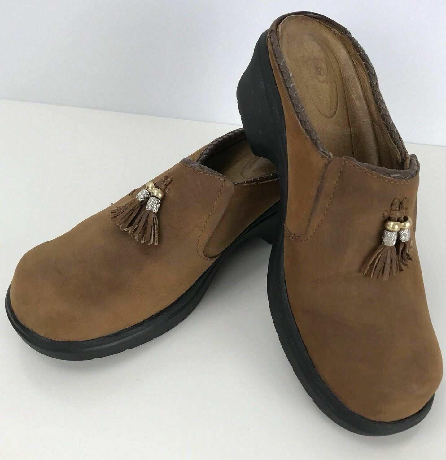 ARIAT Brown Tan Suede Leather Clogs Slip-on Mules Sz 7.5 Tassels Embellished
