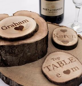Image Is Loading Personalised Rustic Log Slices Coasters Vintage Wedding Favours