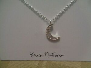 13defd56ca4a3 Details about New Kris Nations Opalescent Crystal Crescent Moon Necklace  Silver $68 Popsugar