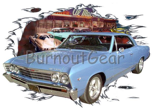 1967 Blau Chevy Chevelle a Custom Hot Rod Diner T-Shirt 67 Muscle Car Tees