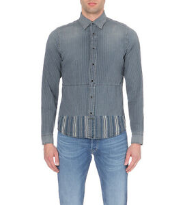 Diesel-stripad-gestreift-Denim-Shirt-Groesse-S-100-Authentic