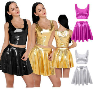 986223bc97ebe6 2 Piece Women Liquid Wet Look Shiny Crop Tank Top Pleated Skirts ...