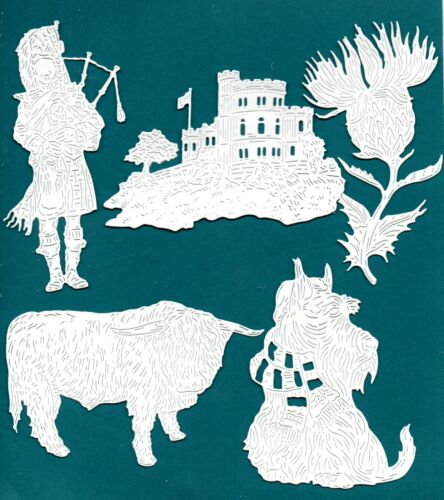 10 NEW TATTERED LACE SCOTTISH DIE CUTS TOPPER DOG THISTLE PIPER CASTLE COW