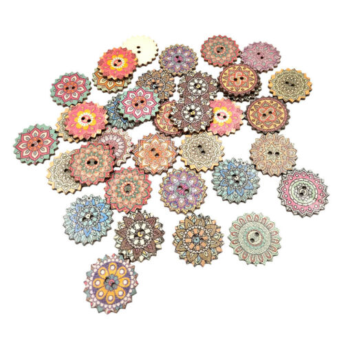 100 Stück lackiert Gear Holz Knöpfe zum Nähen Basteln DIY Zubehör