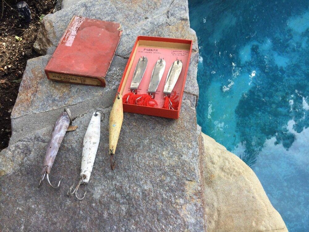 Seis Señuelos Vintage atún Jig de hierro , Estrellaman Candybar, hueso Jig, Parker comercial