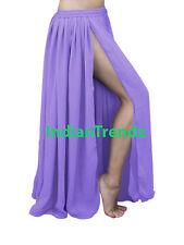 Chiffon 2 Layer Slit Skirts Full Circle Gypsy Belly Dance Tribal Flamenco JUPE