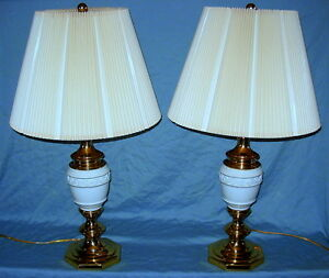Pair Of White Porcelain Polished Brass Table Lamps W Crimped Shade