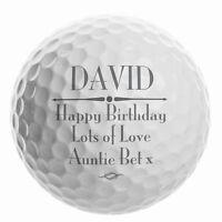 Personalised Message Golf Ball Keepsake Gift For Golf Lover Him Birthday Idea