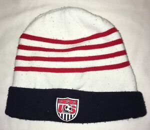 c99ceb50f4c USMNT OLD LOGO Blue w Red White Stripes Nike Winter Hat Soccer Team ...