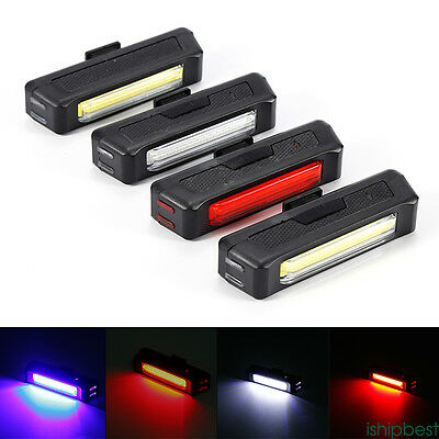 6 Modes Red COB LED Bicycle Bike Cycling Front Rear Tail Light USB Rechargeable