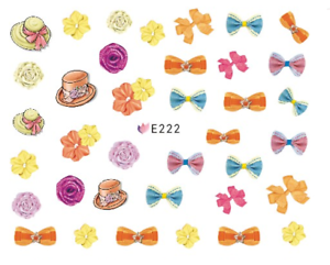 Nail-Art-3D-Decals-Transfers-Stickers-Bows-Ribbons-Flowers-E222