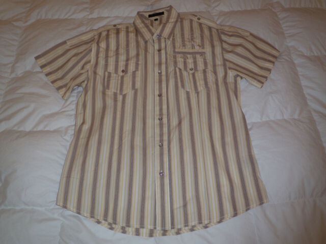 Authentic Monarchy Embroidered Military Style Button Down Mens Shirt Sz XXL