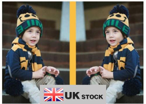 BABY BOY GIRL BAMBINO SMILE FACE Cappello Beanie Berretto Sciarpa 2 Set UK Venditore