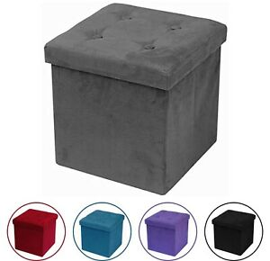 Storage Ottoman Bench, Collapsible/Folding Bench Seat Chest w/ Cover, Faux Suede