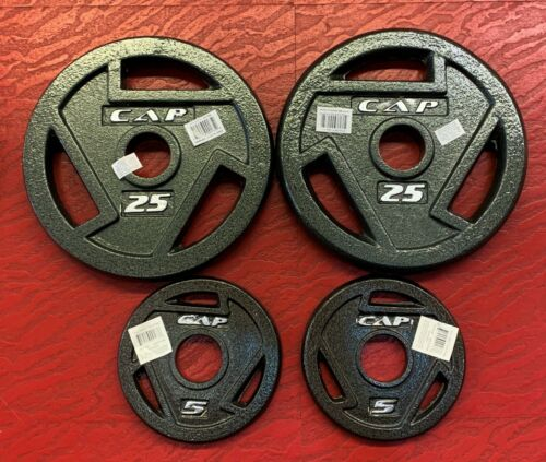 """60 pounds 25 25 5 5 lb each CAP Barbell Weight Plates 2/"""" Olympic Grip Pair"""