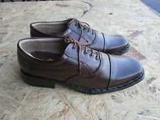 LEATHER MENS SHOES 11 SQUARE TOE OXFORD BROWN LACE UP LINING CASUAL FORMAL