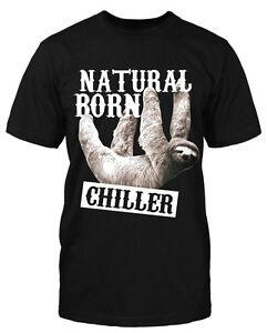 Natural-born-CHILLER-T-Shirt-Faultier-Lustig-Sprueche-Fun-Funshirt-Tier-Animal