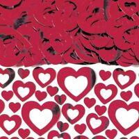 Red Metallic Cutout Heart Wedding Table Confetti - 14g
