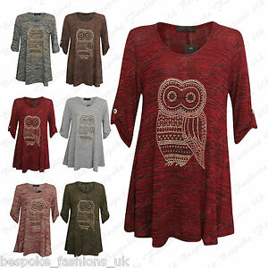 Ladies-Women-039-s-Owl-Bird-Studded-Short-Sleeve-Button-Detail-Baggy-Top-Plus-Size