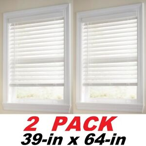 Home Decorators Collection White Cordless 2 1 2 In Premium Faux Wood Blind 2 Pk Ebay
