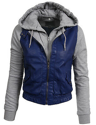 Women's Fitted Mixed Media faux leather Zip Up Moto Jacket with Hoodie [NEWJ09]