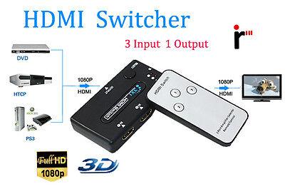 3 Way HDMI Port Switch Switcher Hub with Remote Control Splitter Box 1080p HDTV
