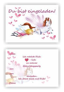 Einladungskarten Kindergeburtstag Fee L Elfe Kinder Geburtstag