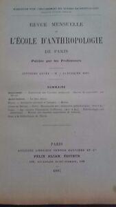 Rivista SCUOLA Antropologia 7 Eme Anni 1897 F.Alcan N° II ABE